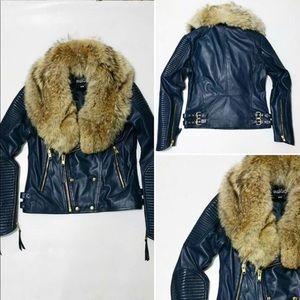 100% Lamb Leather jacket WIth Raccoon Fur Collar